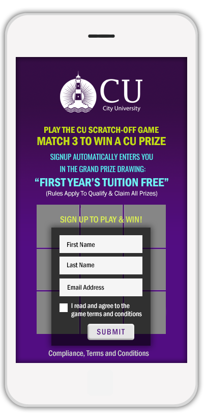 University and College institutions use Priiize digital scratch-off cards to build databases of new applicants.
