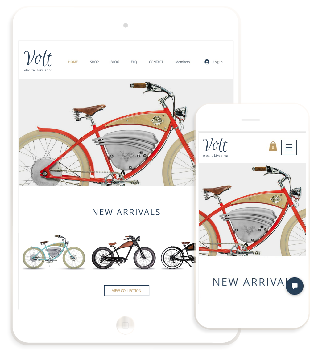 Electric Bikes Shop website design by Envision on Wix platform